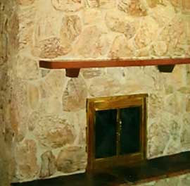 repainted natural stone fireplace
