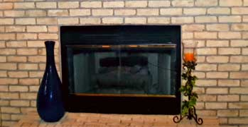 toned down fireplace brick using faux painting techniques